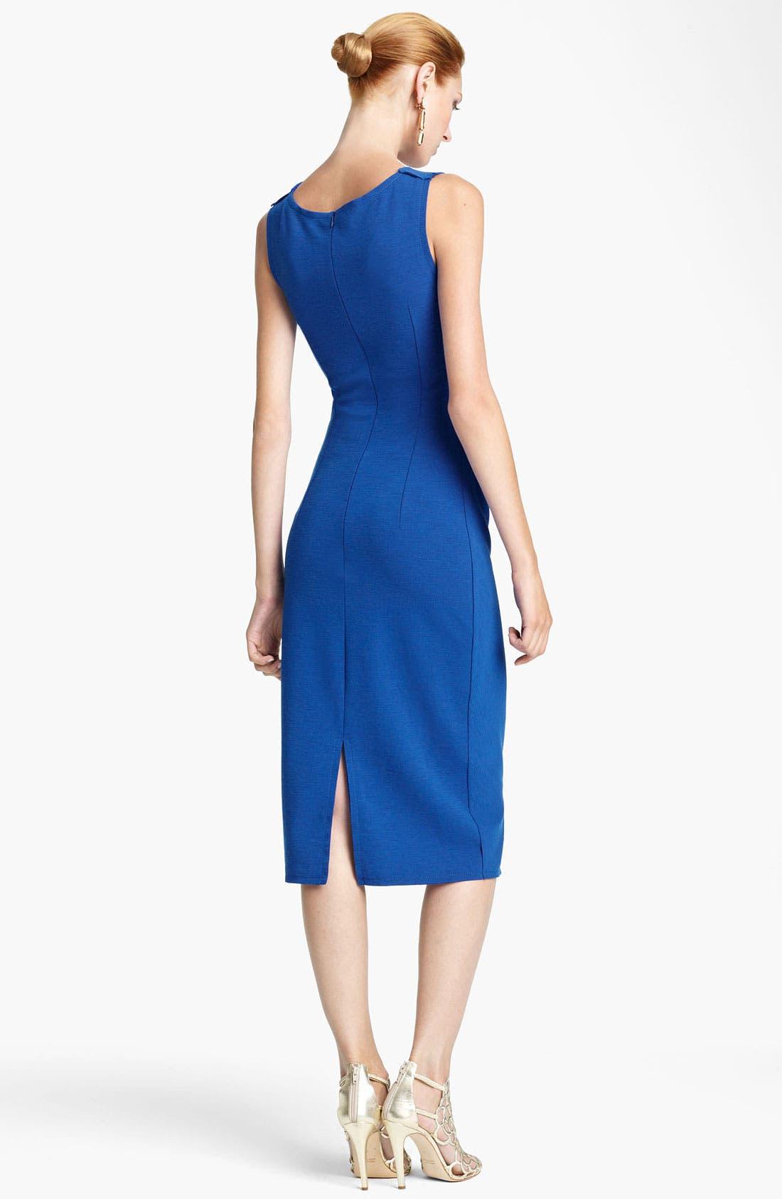 Alternate Image 2  - Oscar de la Renta Ruched Wool Sheath Dress