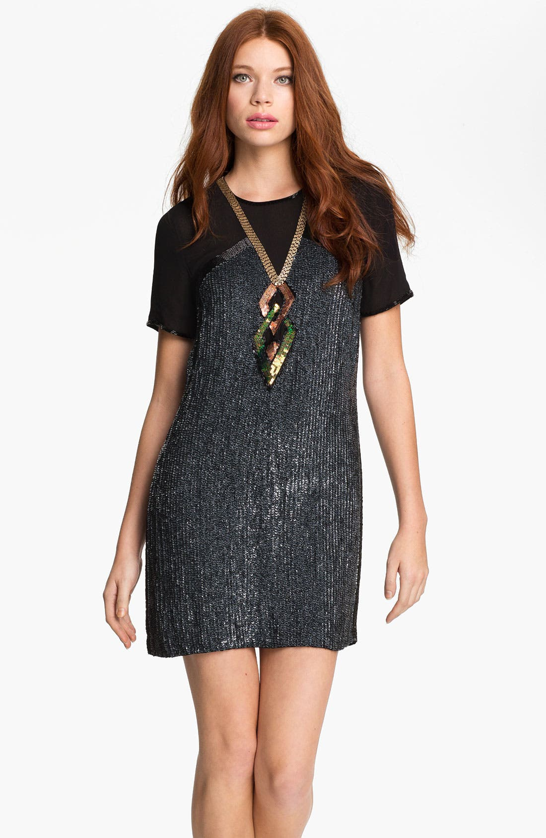 Main Image - French Connection 'Shoot to Thrill' Sequin Shirt Dress