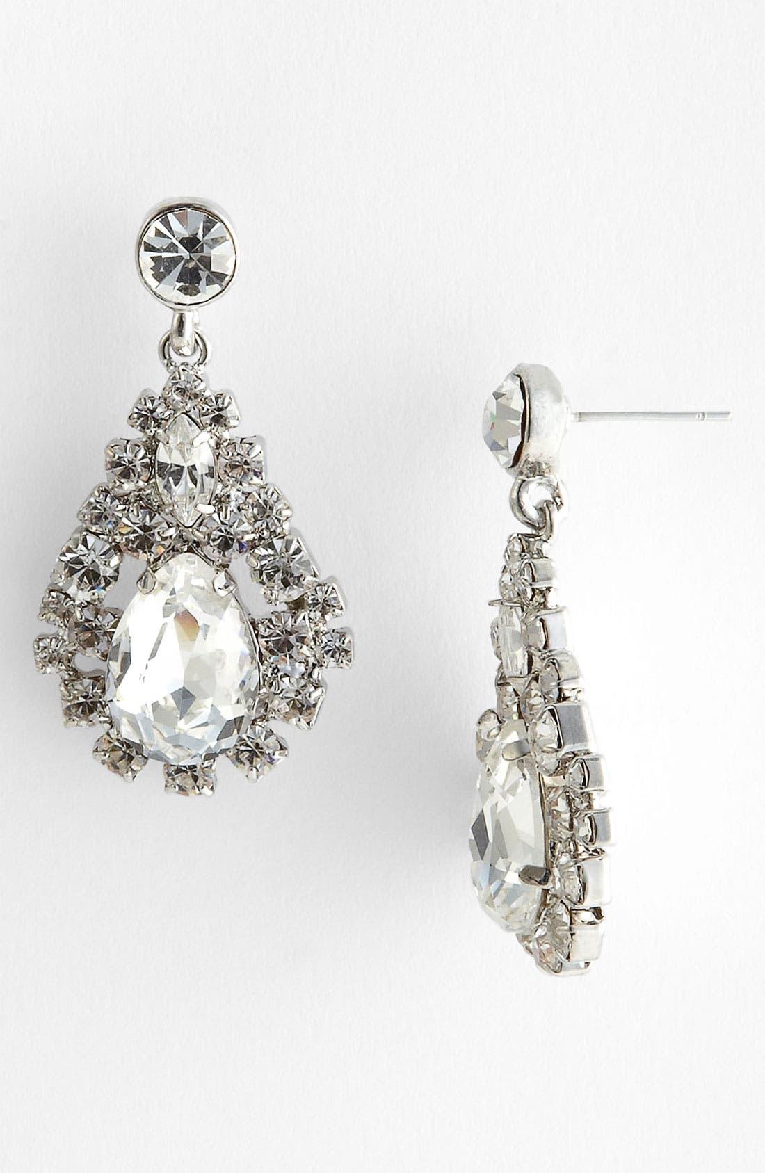 Alternate Image 1 Selected - Nina 'Camellia' Crystal Teardrop Earrings