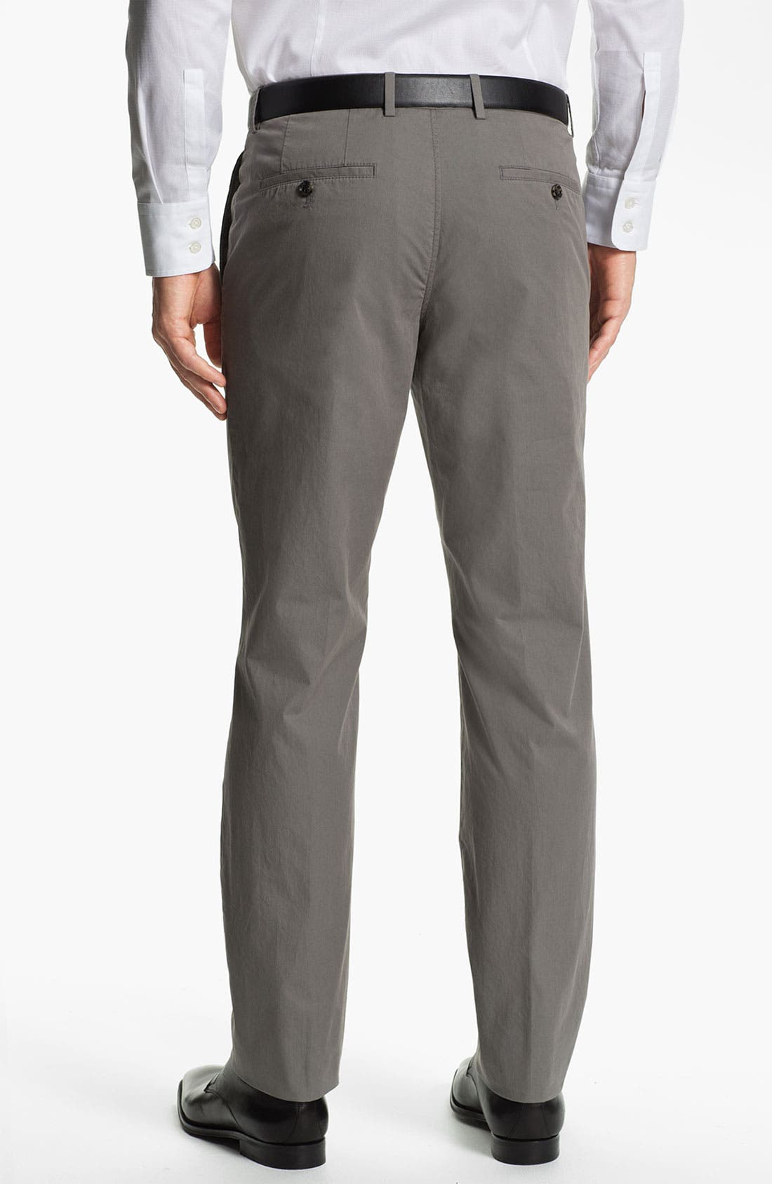 Alternate Image 2  - BOSS Black 'Sharp' Flat Front Cotton Trousers