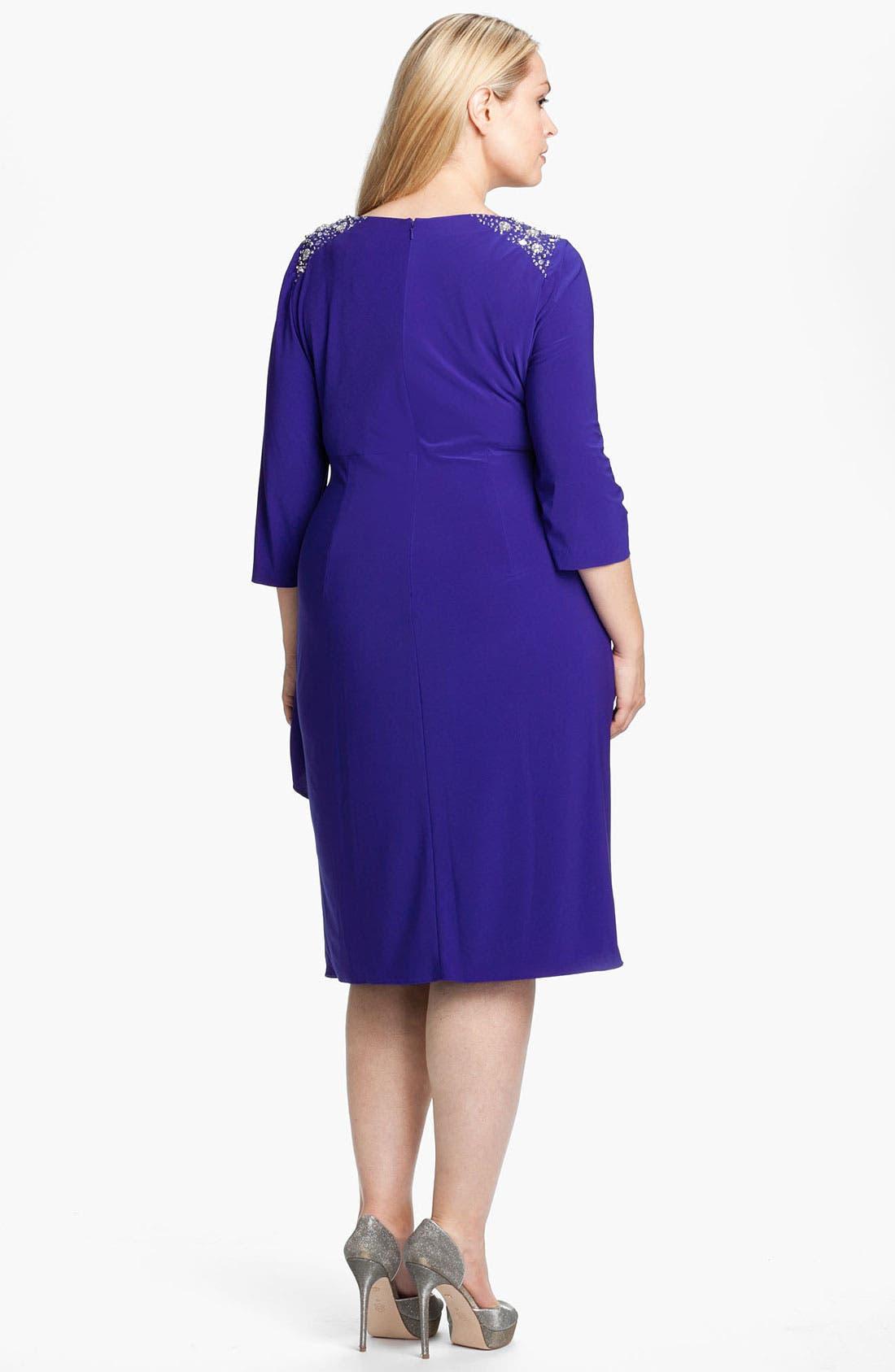 Alternate Image 2  - Alex Evenings Jeweled Faux Wrap Matte Jersey Dress (Plus)