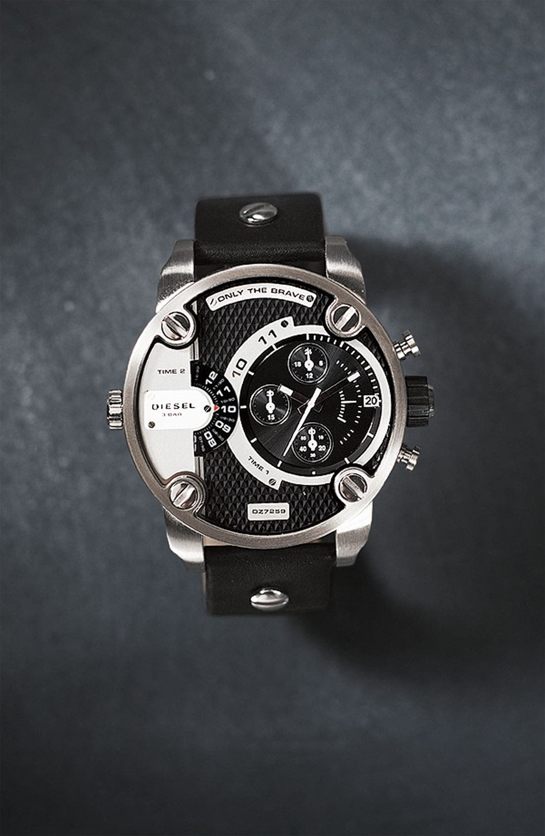 Alternate Image 5  - DIESEL® 'Little Daddy' Chronograph Leather Strap Watch, 51mm