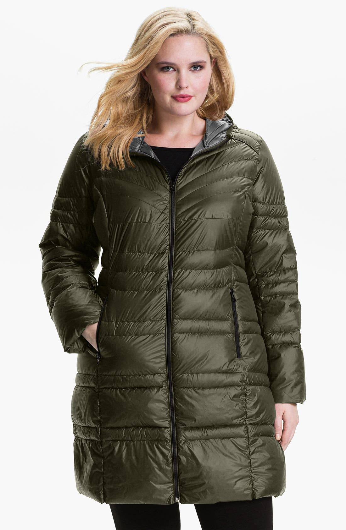 Alternate Image 1 Selected - Bernardo Hooded Down Walking Coat (Plus) (Online Exclusive)