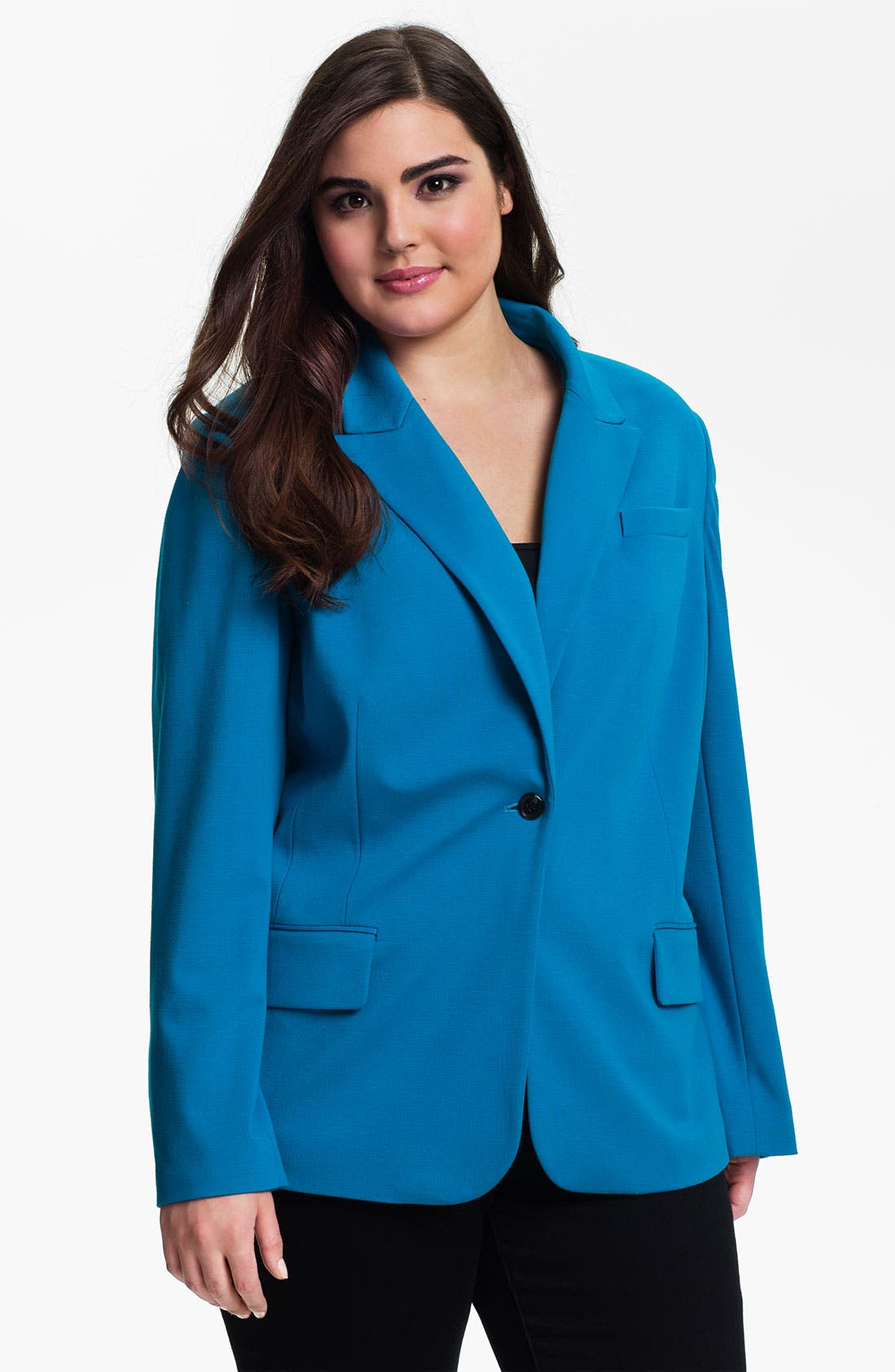 Main Image - Vince Camuto One Button Blazer (Plus)