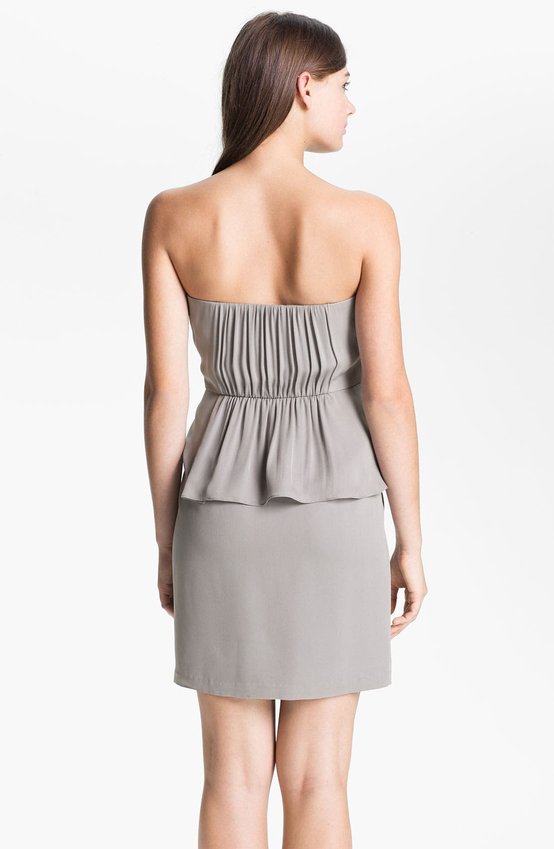 Alternate Image 2  - Donna Morgan Ruched Asymmetrical Peplum Chiffon Dress