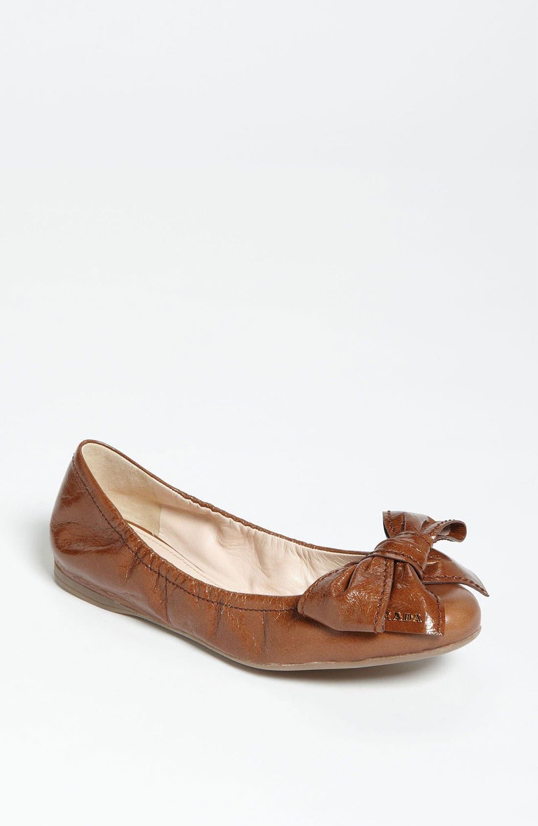 Main Image - Prada Stitched Bow Ballet Flat