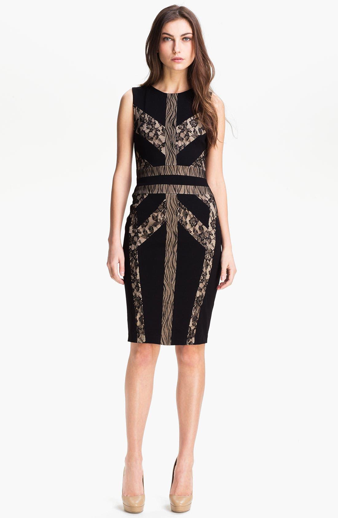 Alternate Image 1 Selected - BCBGMAXAZRIA 'Raina' Techno Knit Sheath Dress