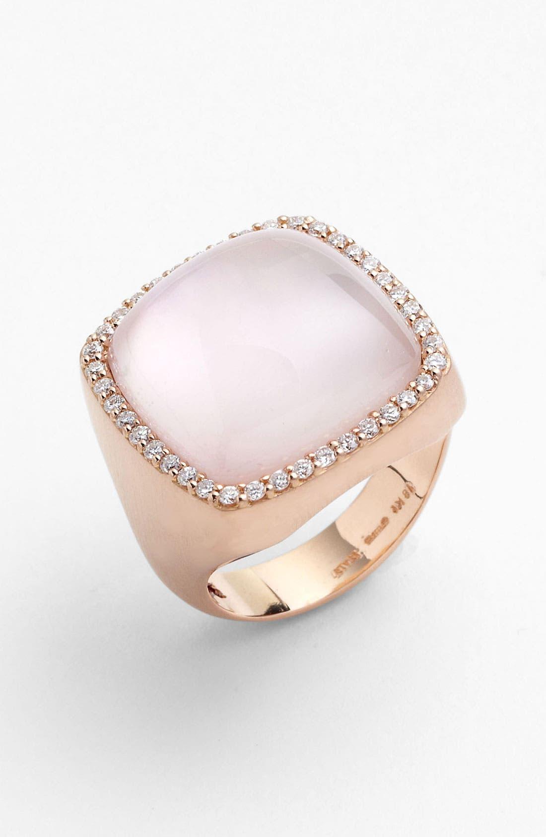 Main Image - Roberto Coin Diamond & Square Cut Rose Quartz Ring