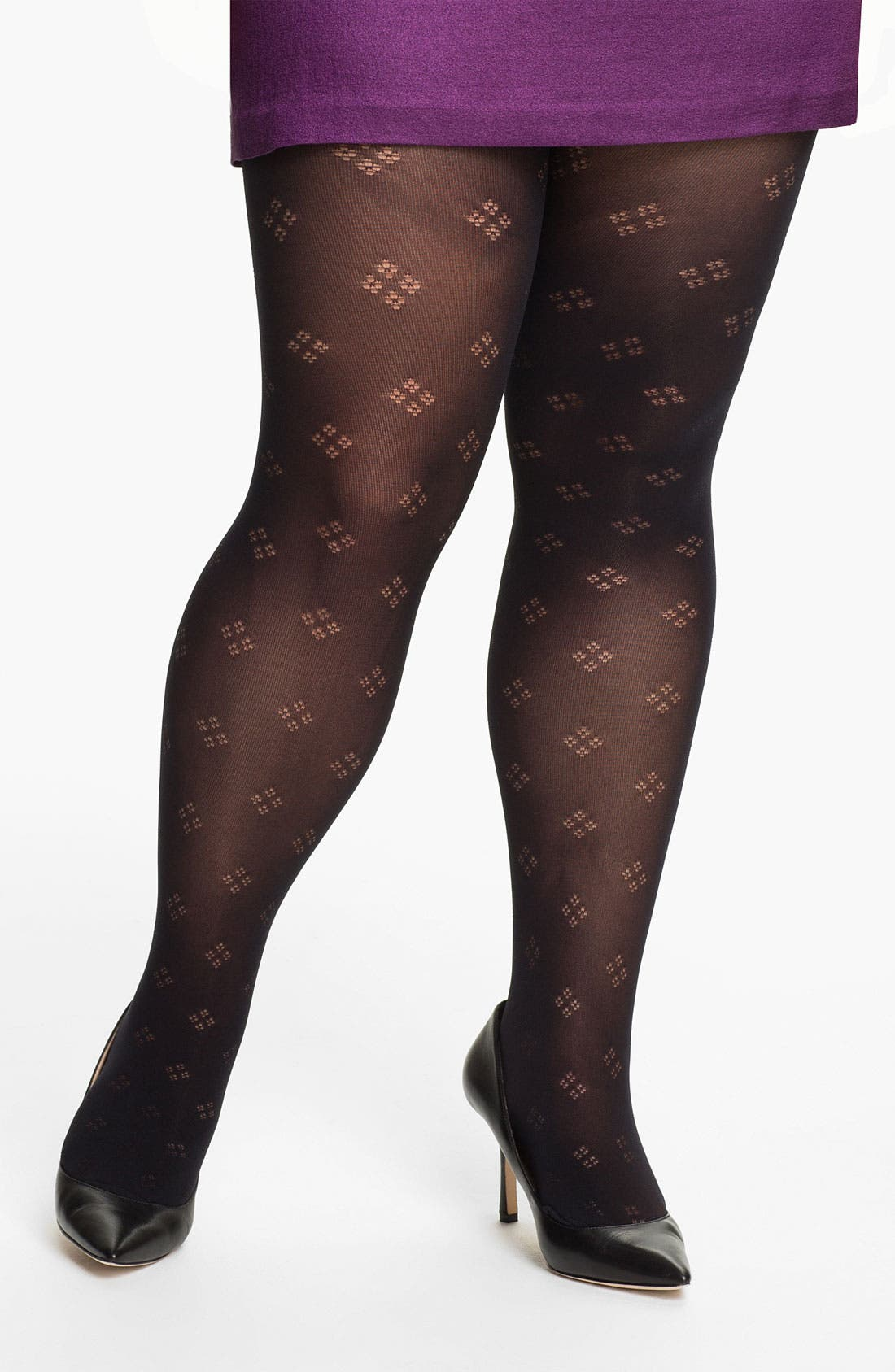 Alternate Image 1 Selected - Pretty Polly 'Curves' Dot Diamond Tights (Plus)