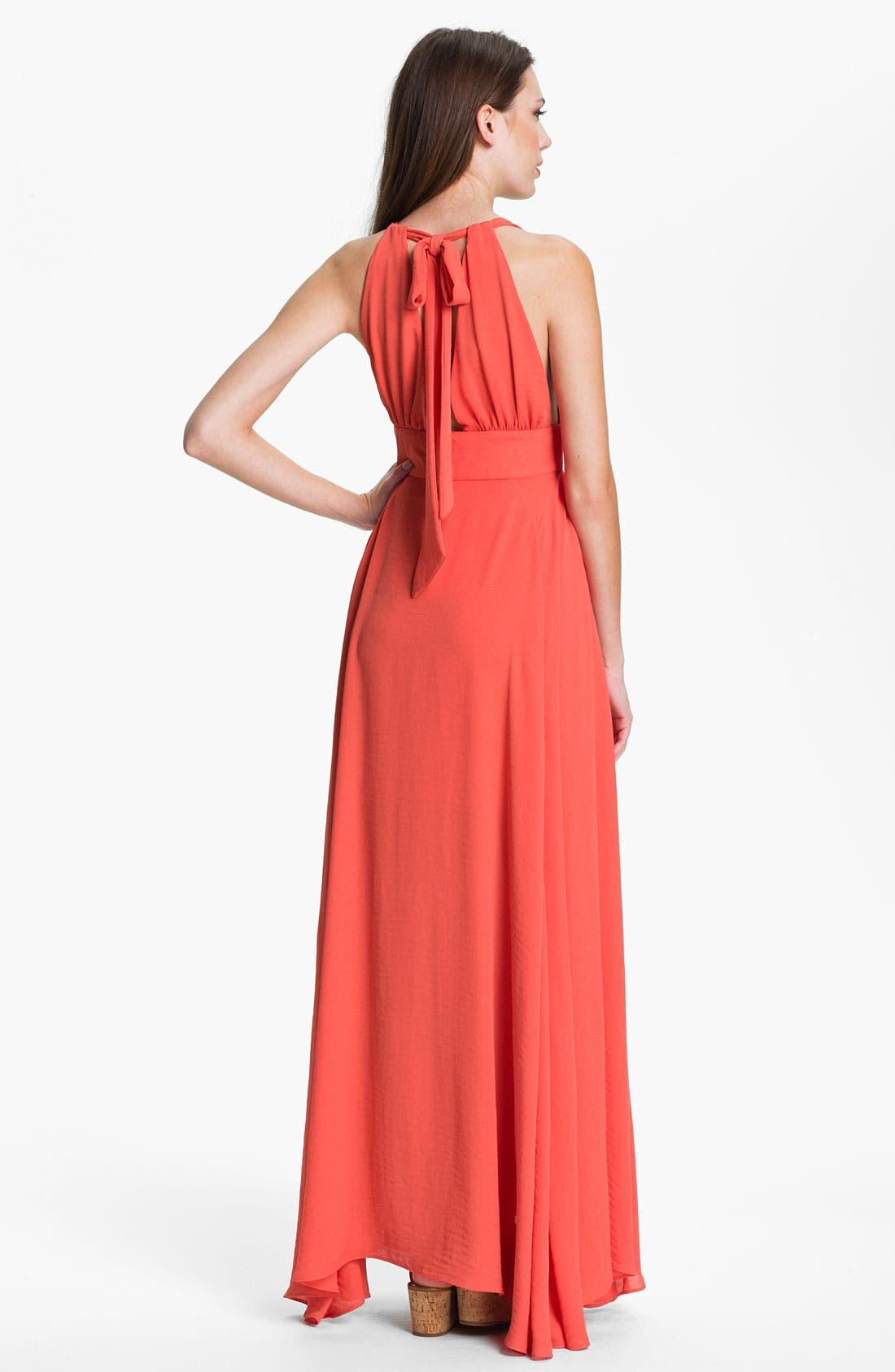 Alternate Image 2  - Abi Ferrin 'Goldie' V-Neck Halter Maxi Dress