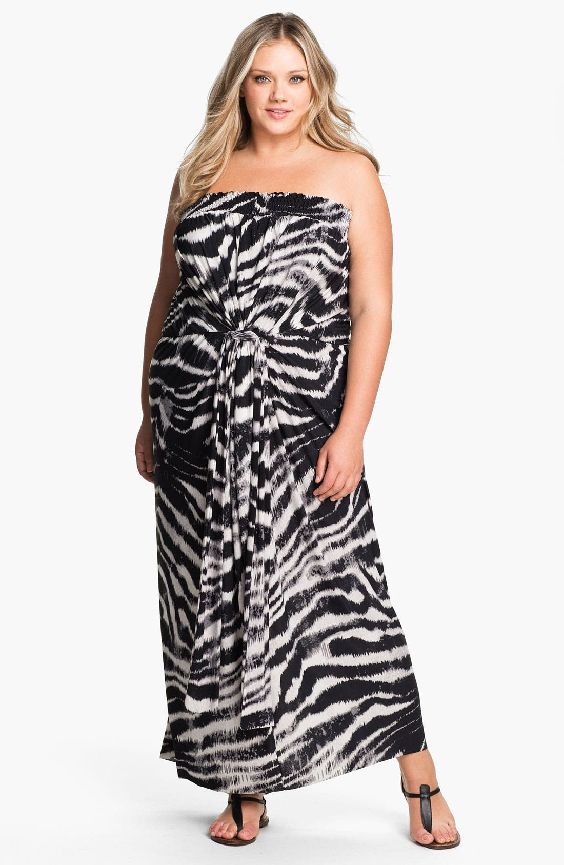 Main Image - Tbags Los Angeles Tie Waist Strapless Maxi Dress (Plus)
