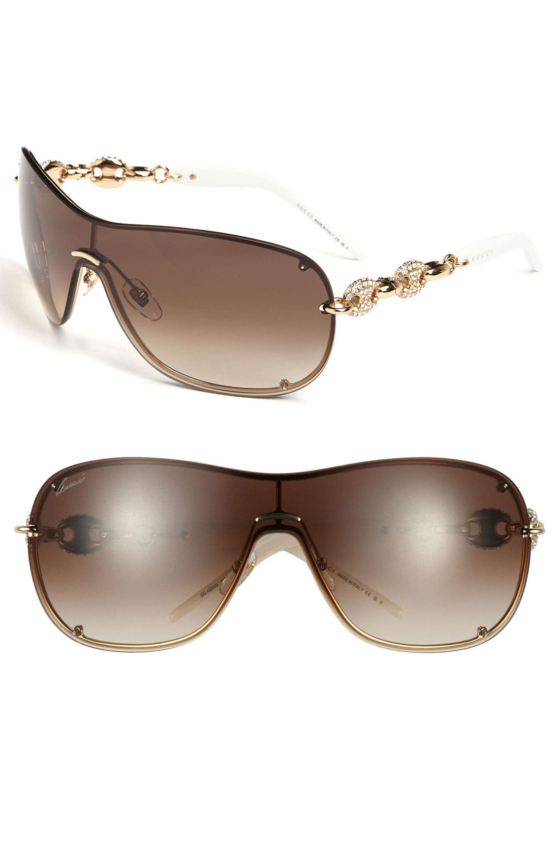 Alternate Image 1 Selected - Gucci 99mm Rimless Shield Sunglasses