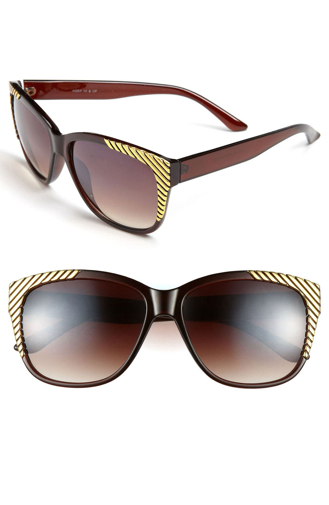Alternate Image 1 Selected - FE NY Gold Tipped Sunglasses