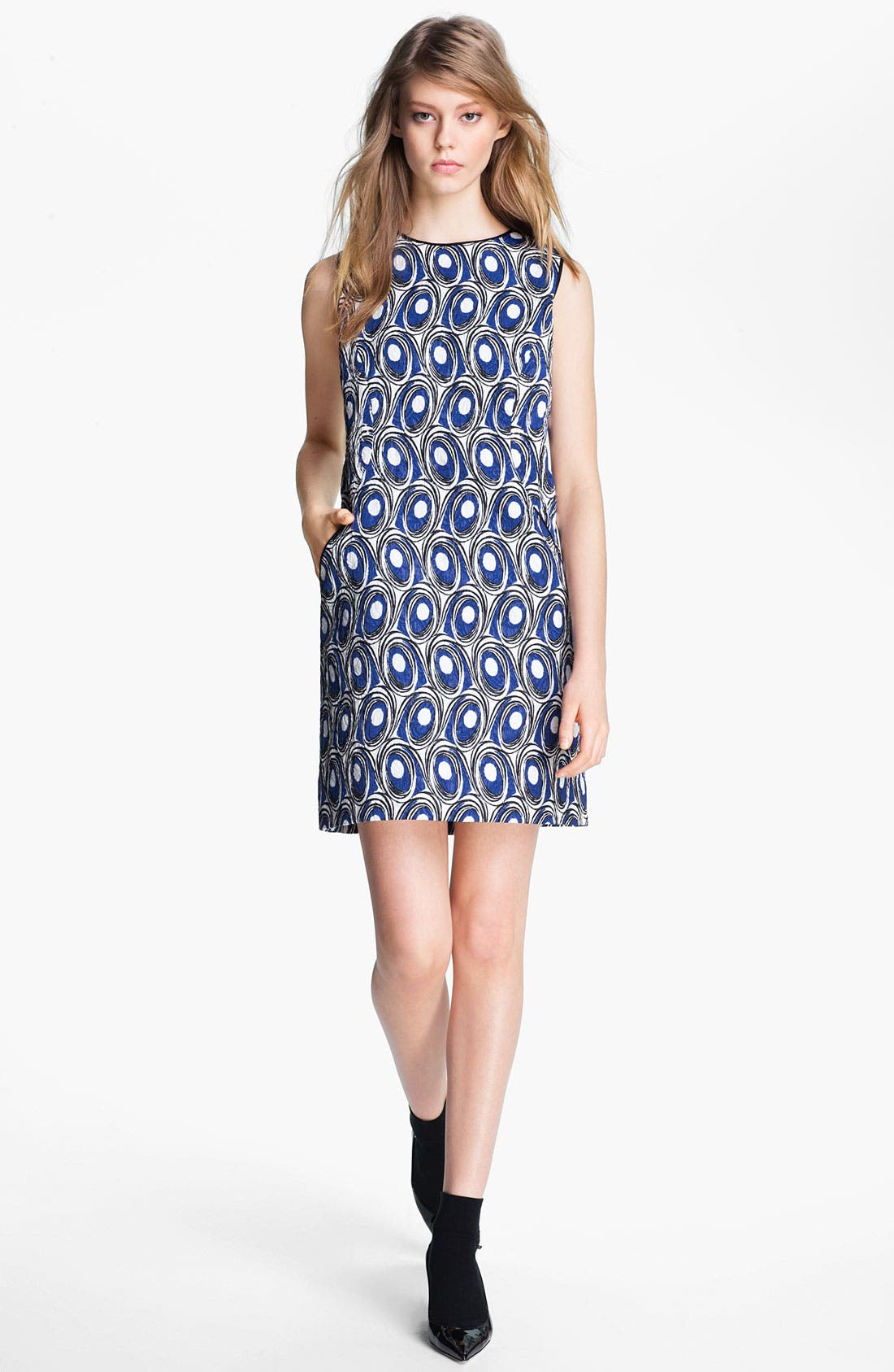 Main Image - Miss Wu Abstract Print Jacquard Dress (Nordstrom Exclusive)