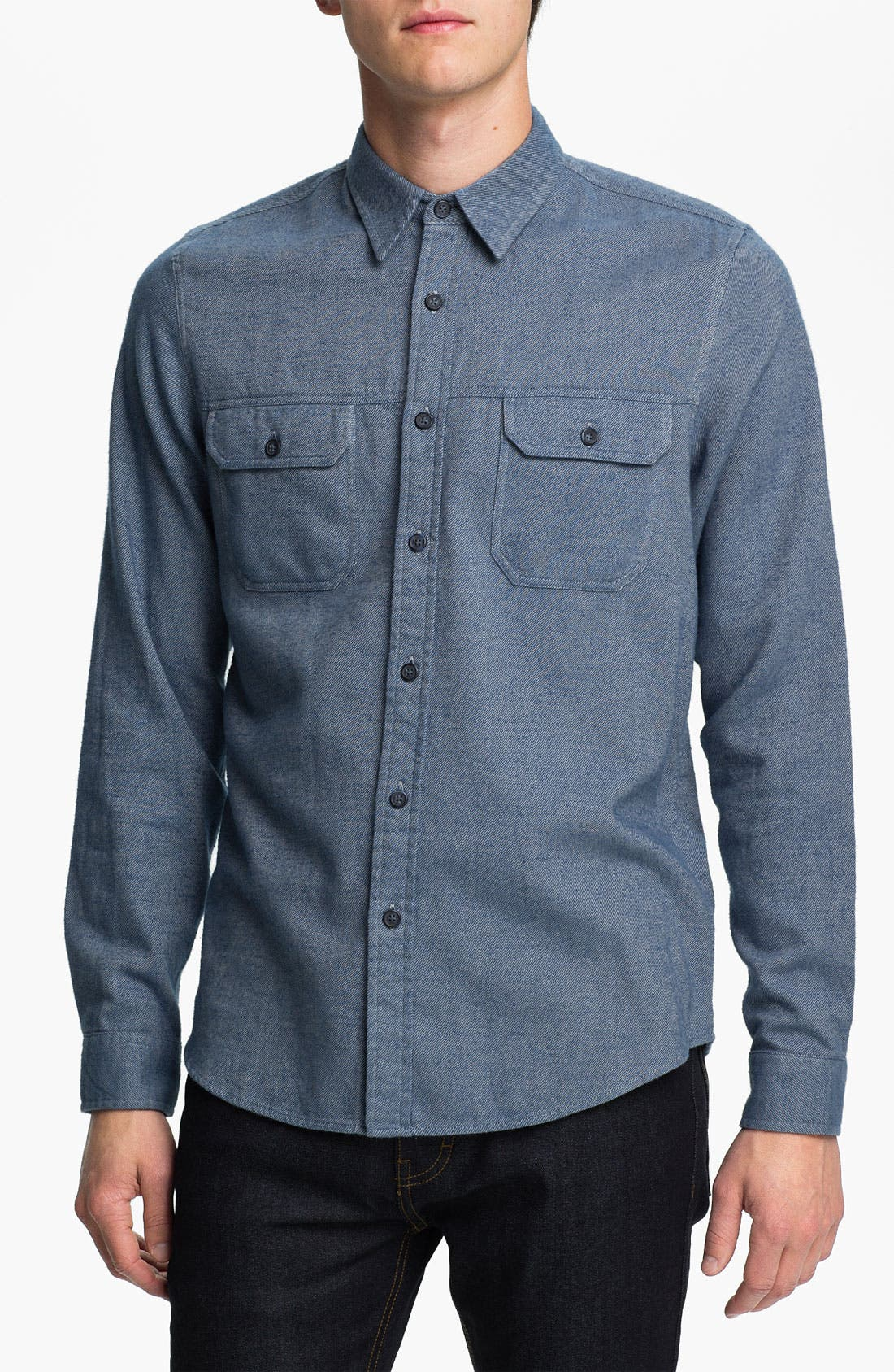Main Image - Topman 'Spencer' Cotton Flannel Shirt