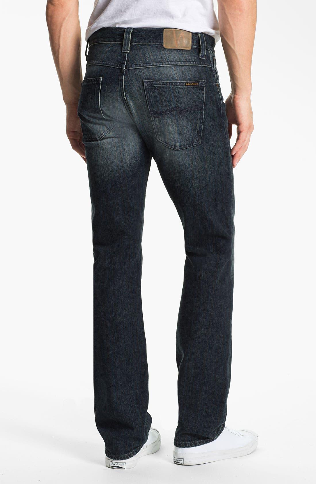 Main Image - Nudie 'Average Joe' Straight Leg Jeans (Organic Black and Blue)