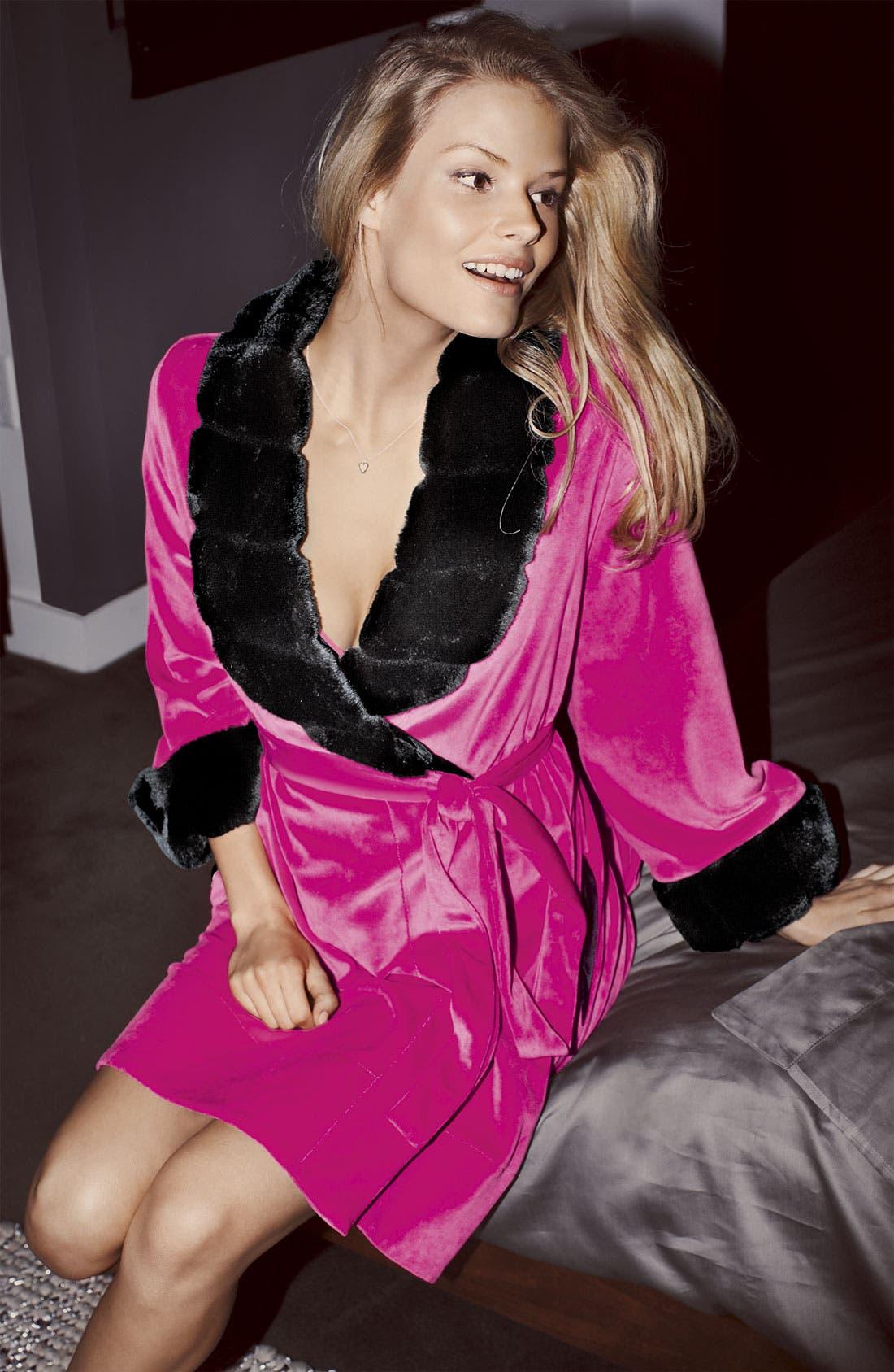 Alternate Image 4  - Betsey Johnson Faux Fur Trim Velour Robe