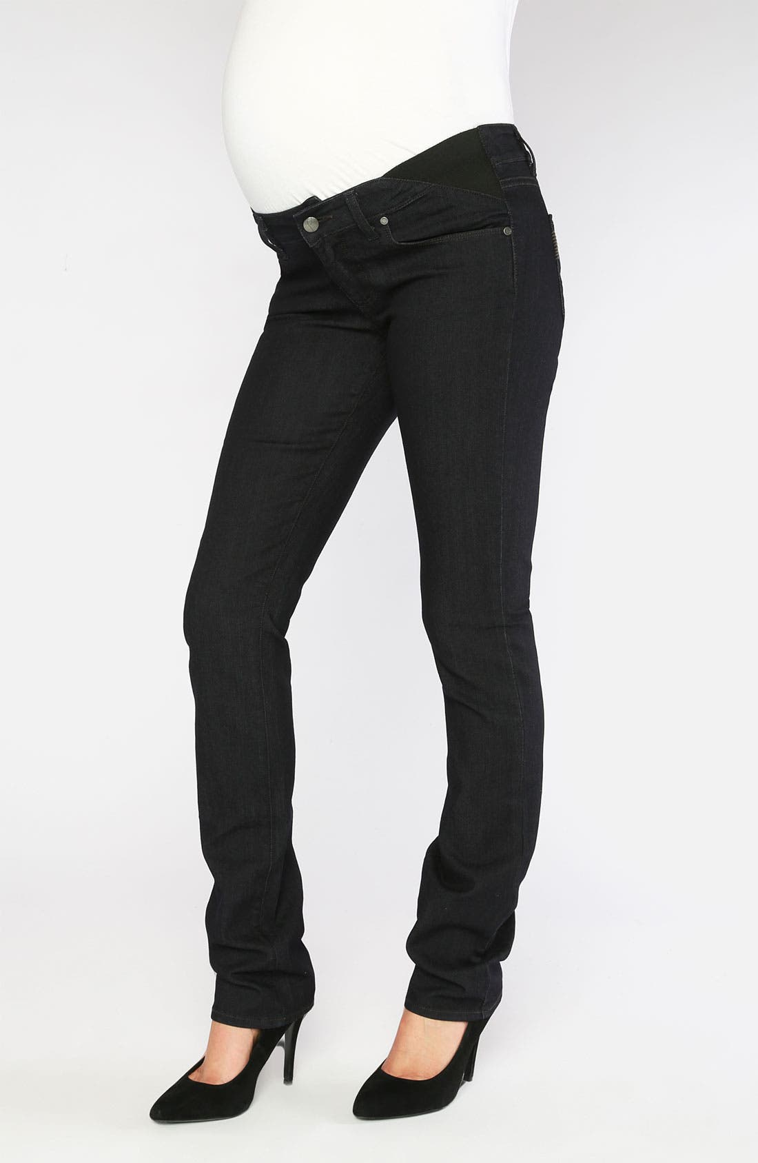 Main Image - Paige Denim 'Union Skyline' Straight Leg Maternity Jeans (Twilight)