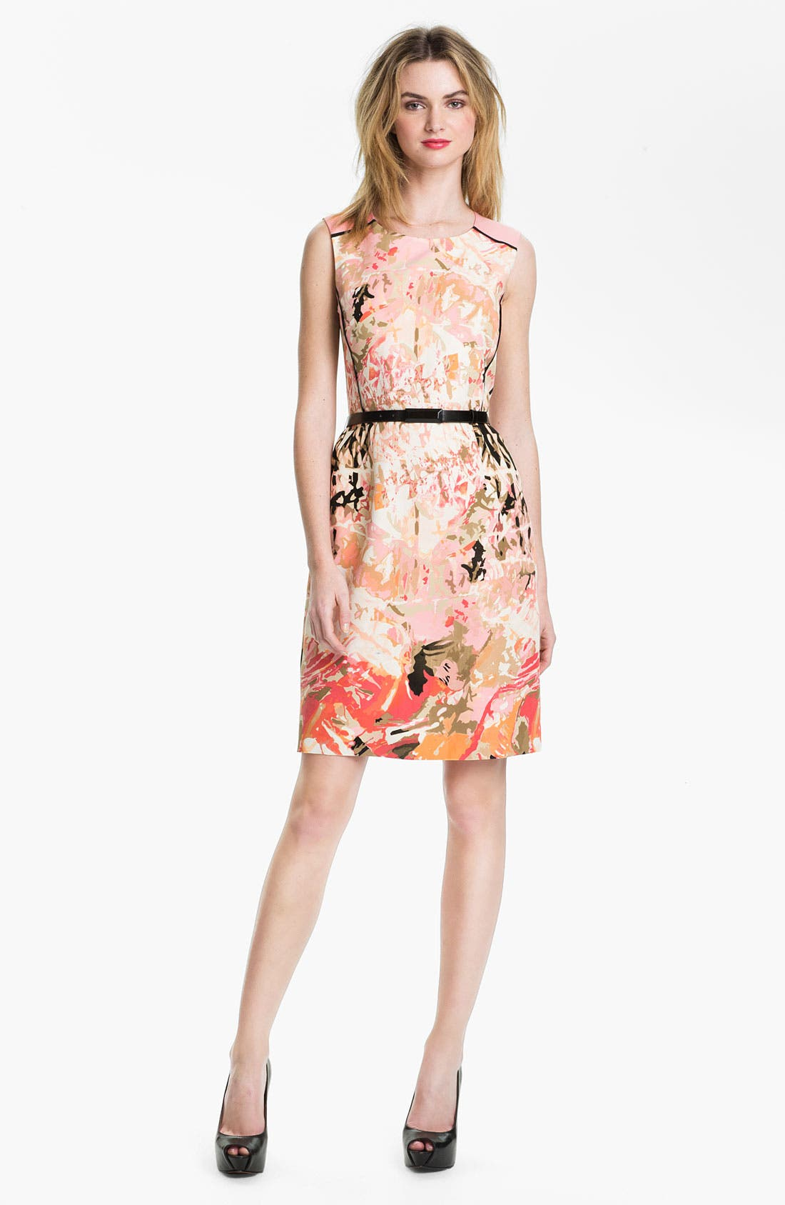 Alternate Image 1 Selected - Tahari Belted Print Sheath Dress