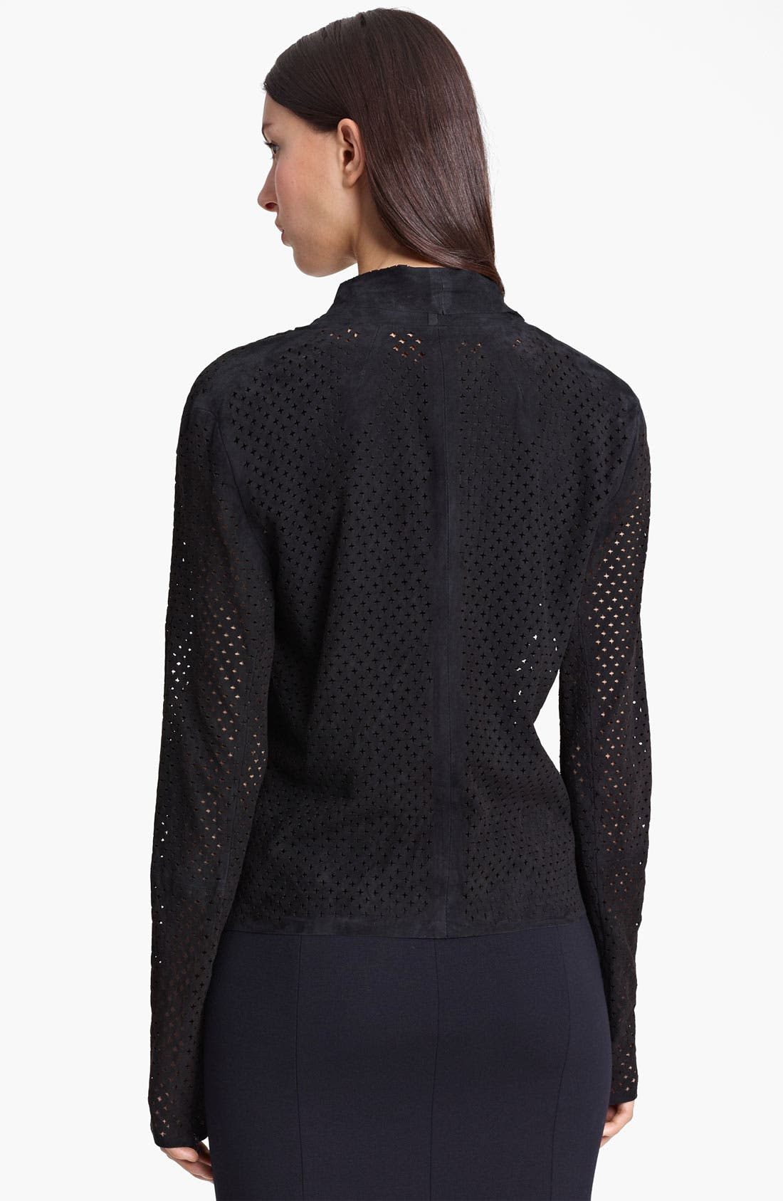 Alternate Image 2  - Armani Collezioni Perforated Suede Jacket