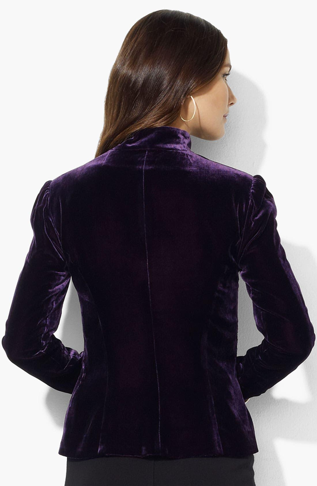Alternate Image 2  - Lauren Ralph Lauren Velvet Jacket (Petite)