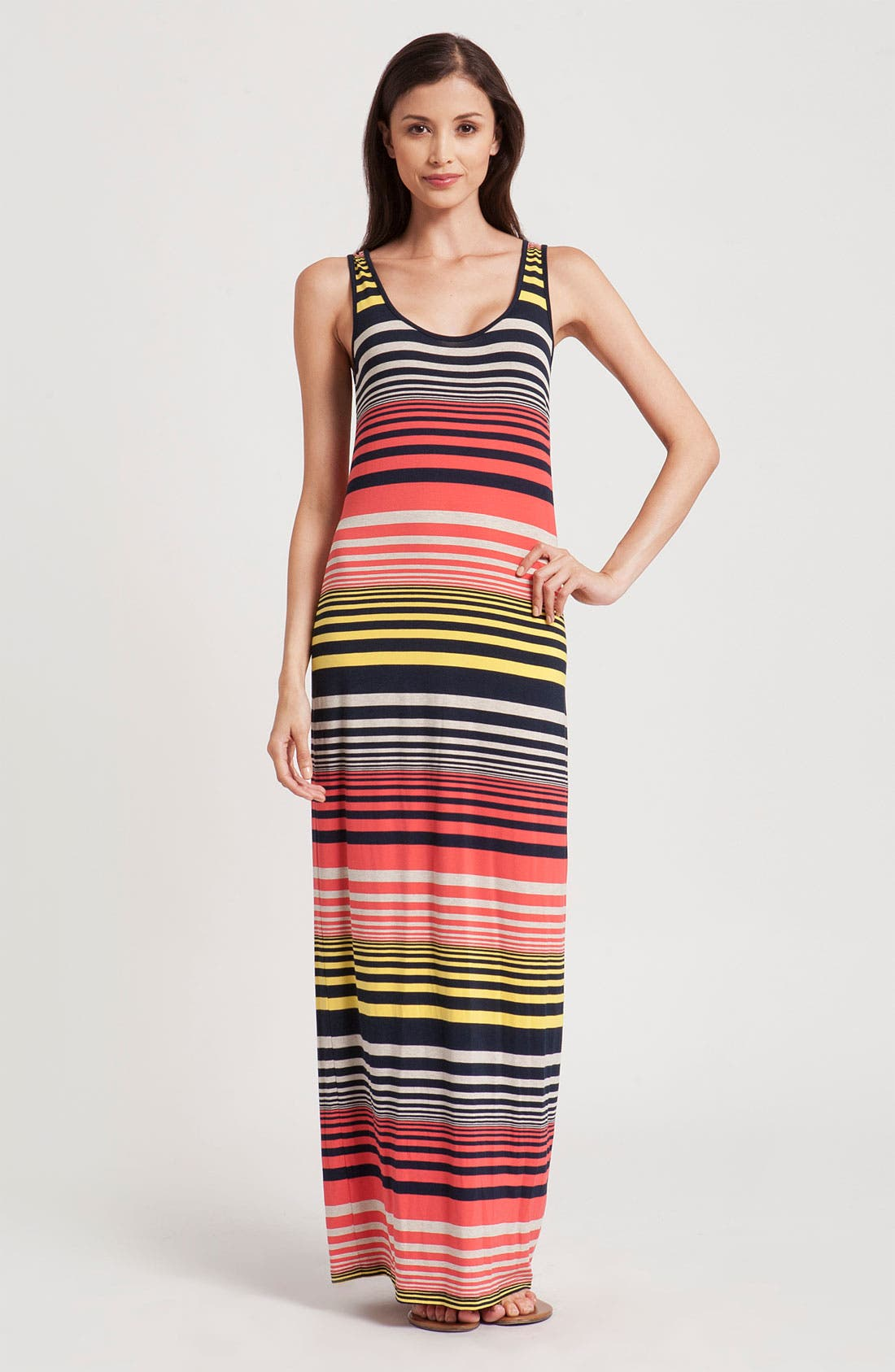 Alternate Image 1 Selected - Three Dots Stripe Tank Maxi Dress