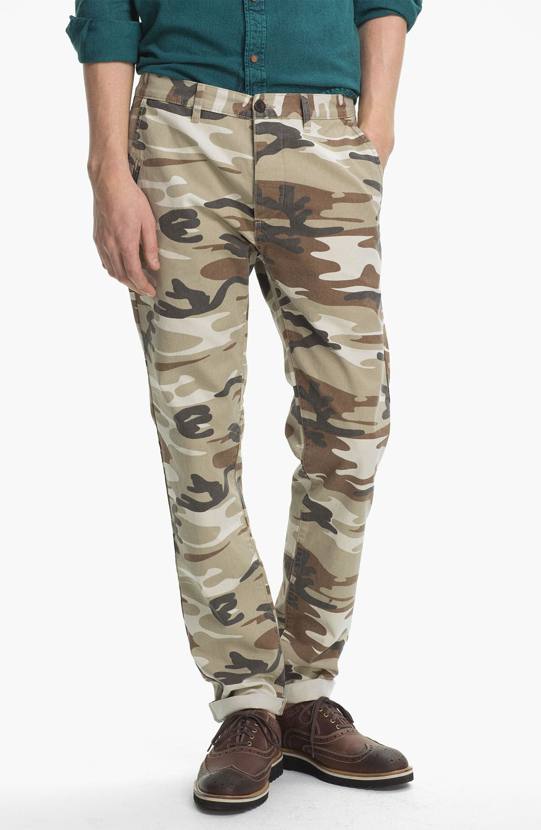Alternate Image 1 Selected - Topman Camo Print Skinny Fit Chinos
