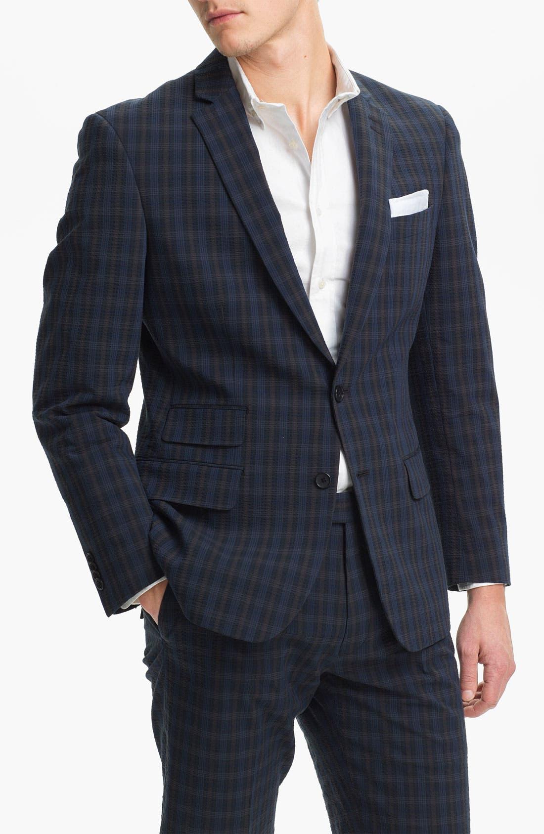 Alternate Image 1 Selected - John Varvatos Star USA Red Label Navy Plaid Blazer
