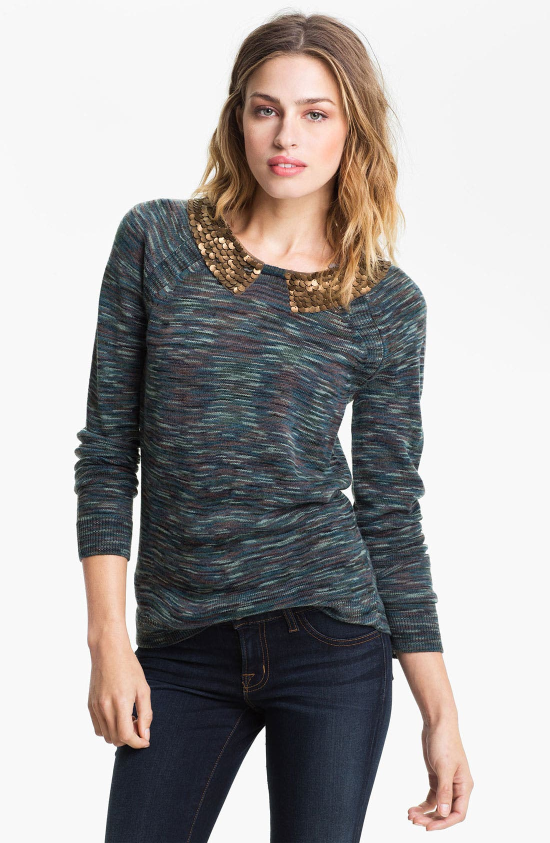 Alternate Image 1 Selected - Hinge® Embellished Collar Space Dye Sweater