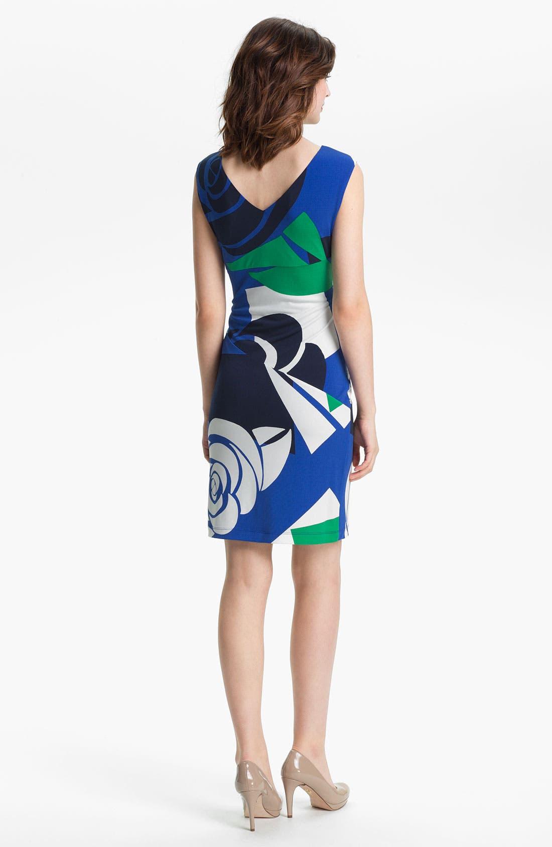 Alternate Image 2  - Donna Morgan Gathered Print Sheath Dress