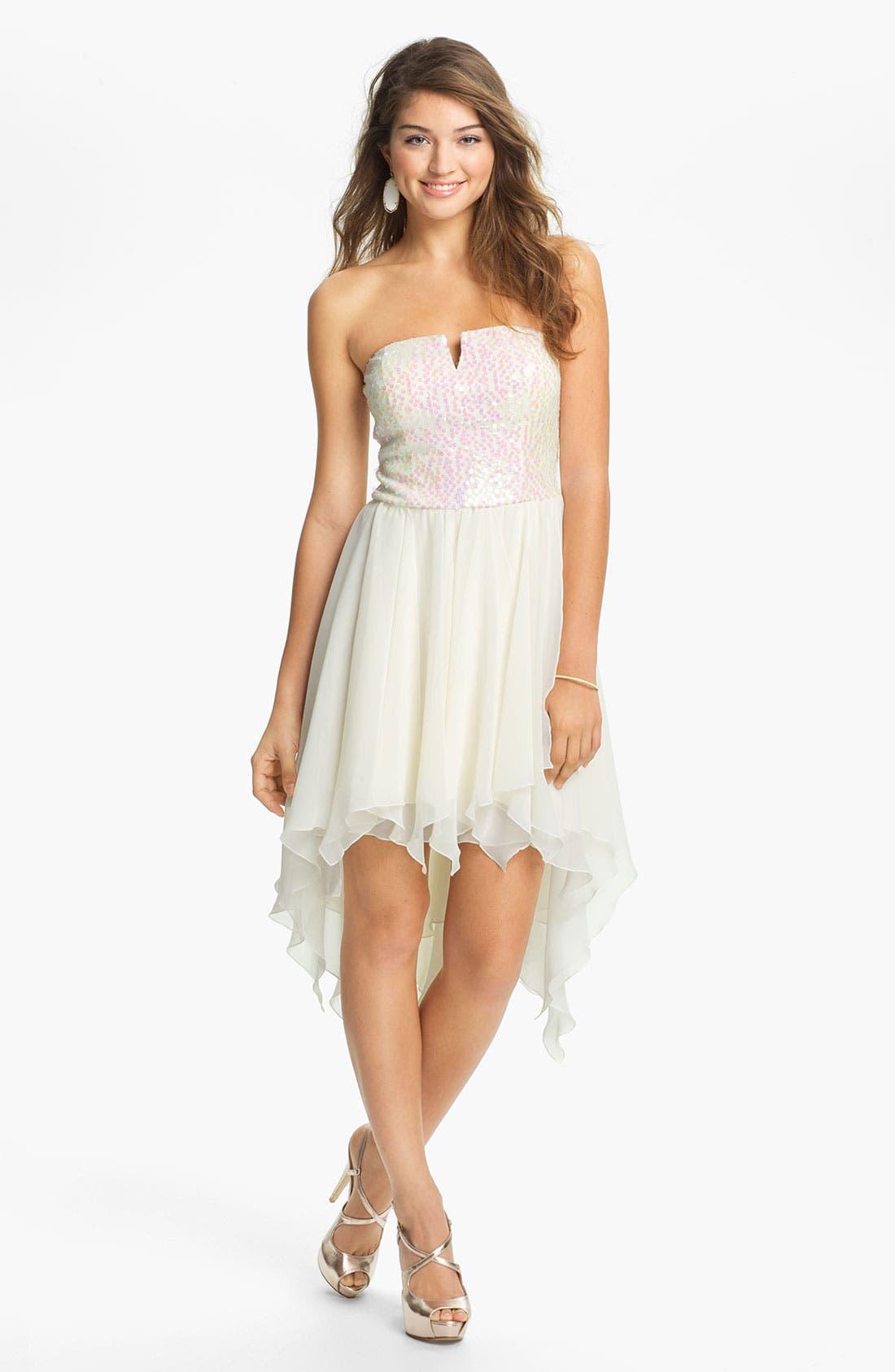 Alternate Image 1 Selected - As U Wish Embellished High/Low Dress (Juniors)