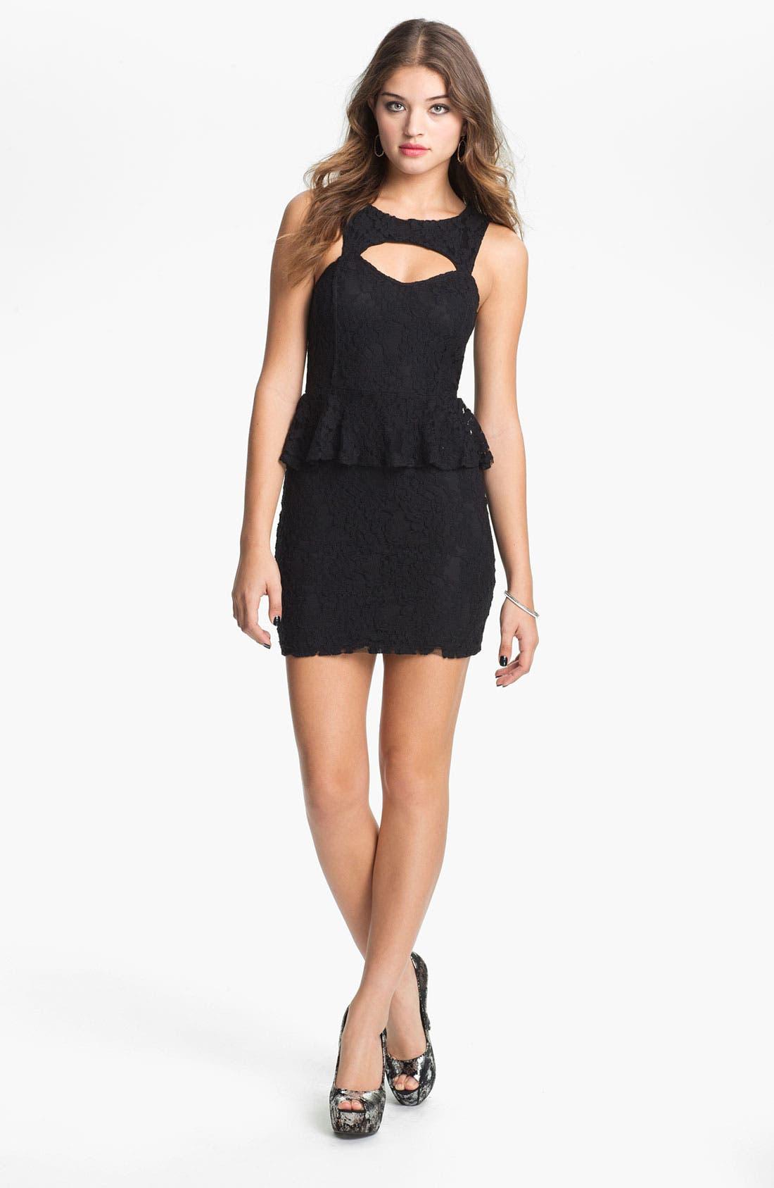 Main Image - Fire Peplum Lace Body-Con Dress (Juniors)