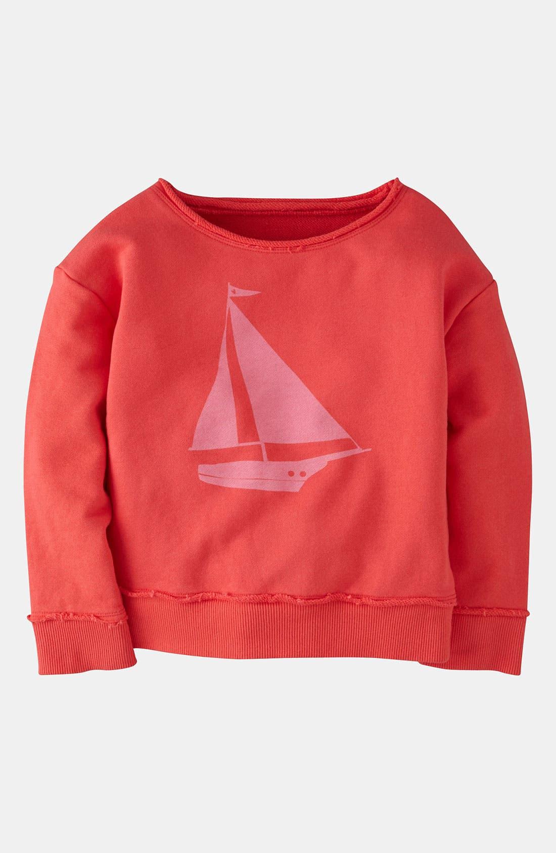 Main Image - Mini Boden 'Washed Logo' Sweatshirt (Little Girls & Big Girls)