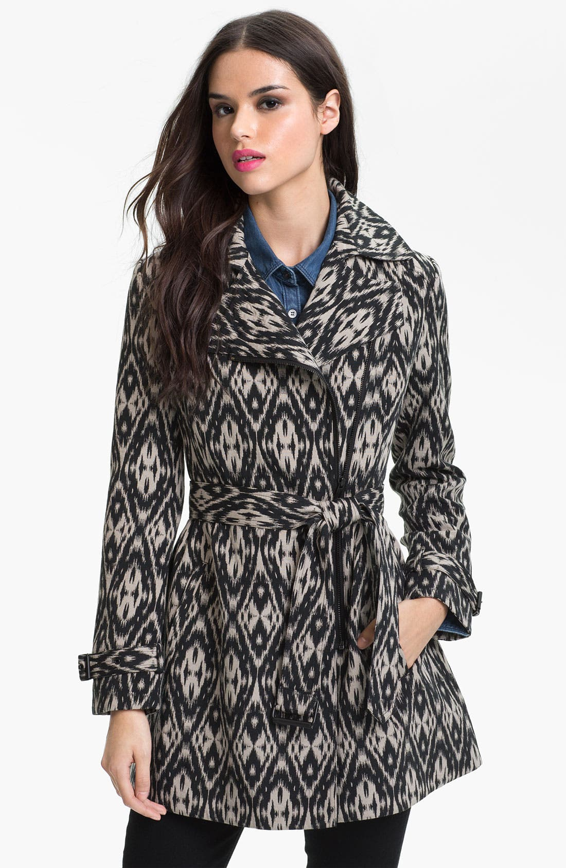 Main Image - Kenneth Cole New York Asymmetrical Zip Print Trench Coat