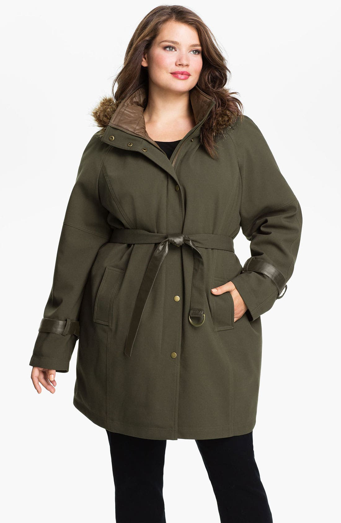 Main Image - Kristen Blake Belted Coat with Faux Fur Trim (Plus)