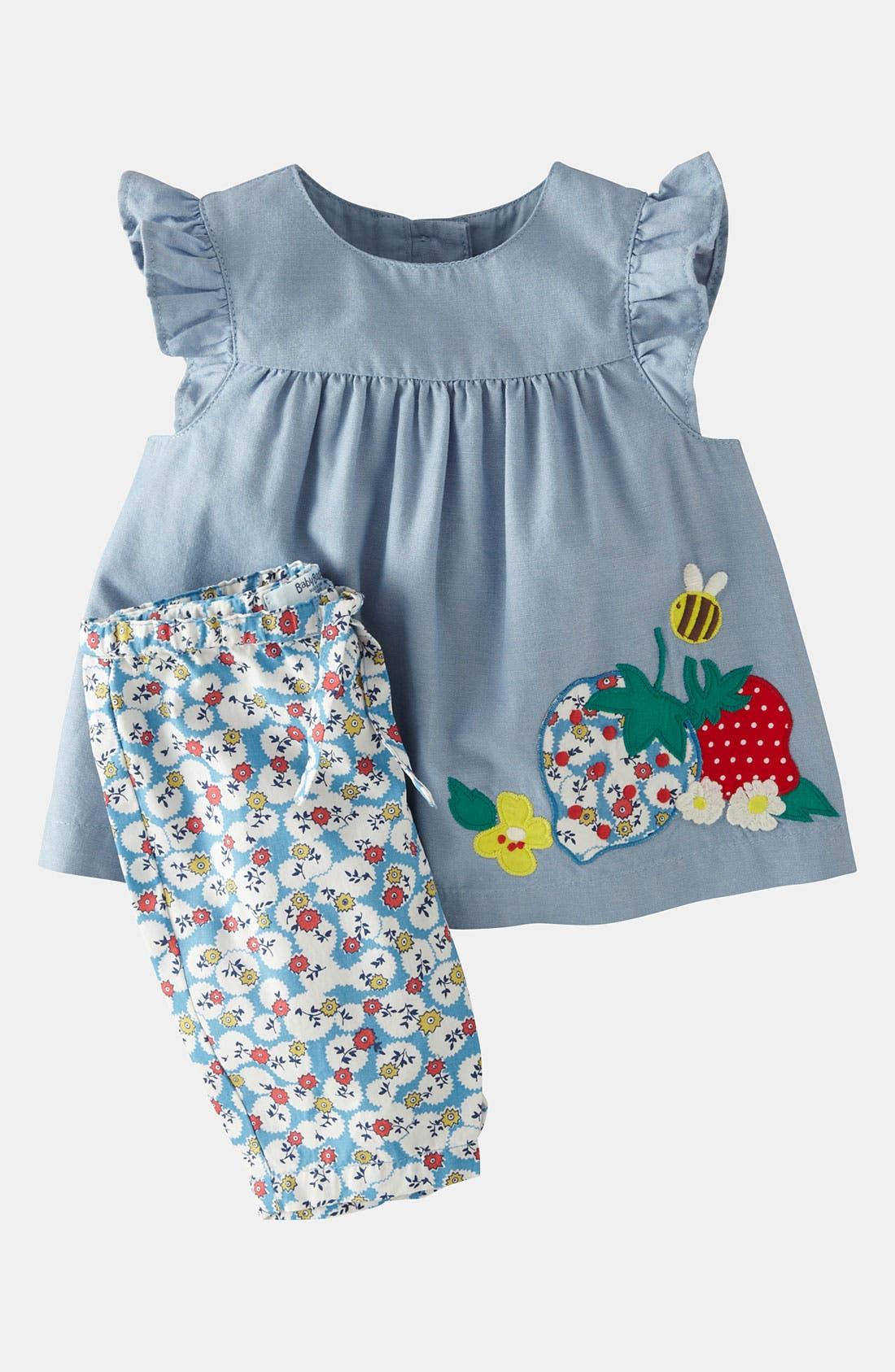 Main Image - Mini Boden Appliqué Dress & Leggings (Baby Girls)