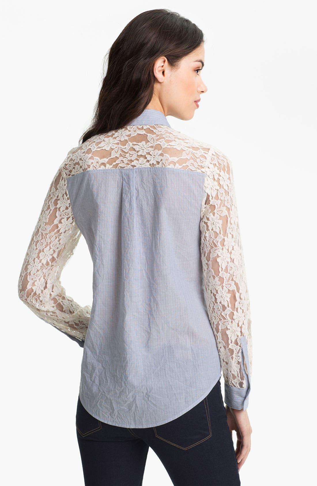 Alternate Image 2  - Hinge® Mixed Media Lace Sleeve Shirt