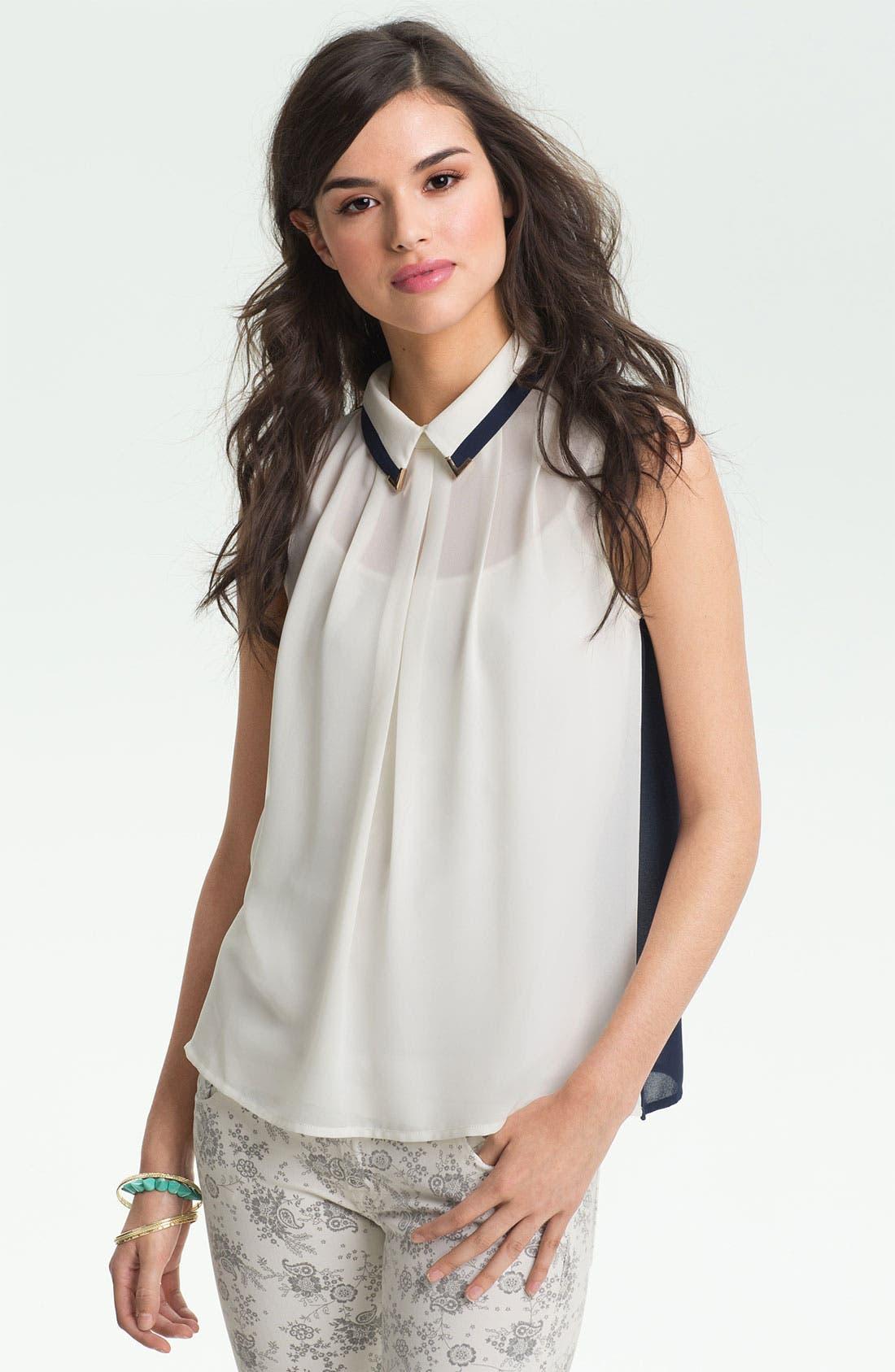Alternate Image 1 Selected - Chloe K Tip Collar Sleeveless Chiffon Shirt (Juniors)