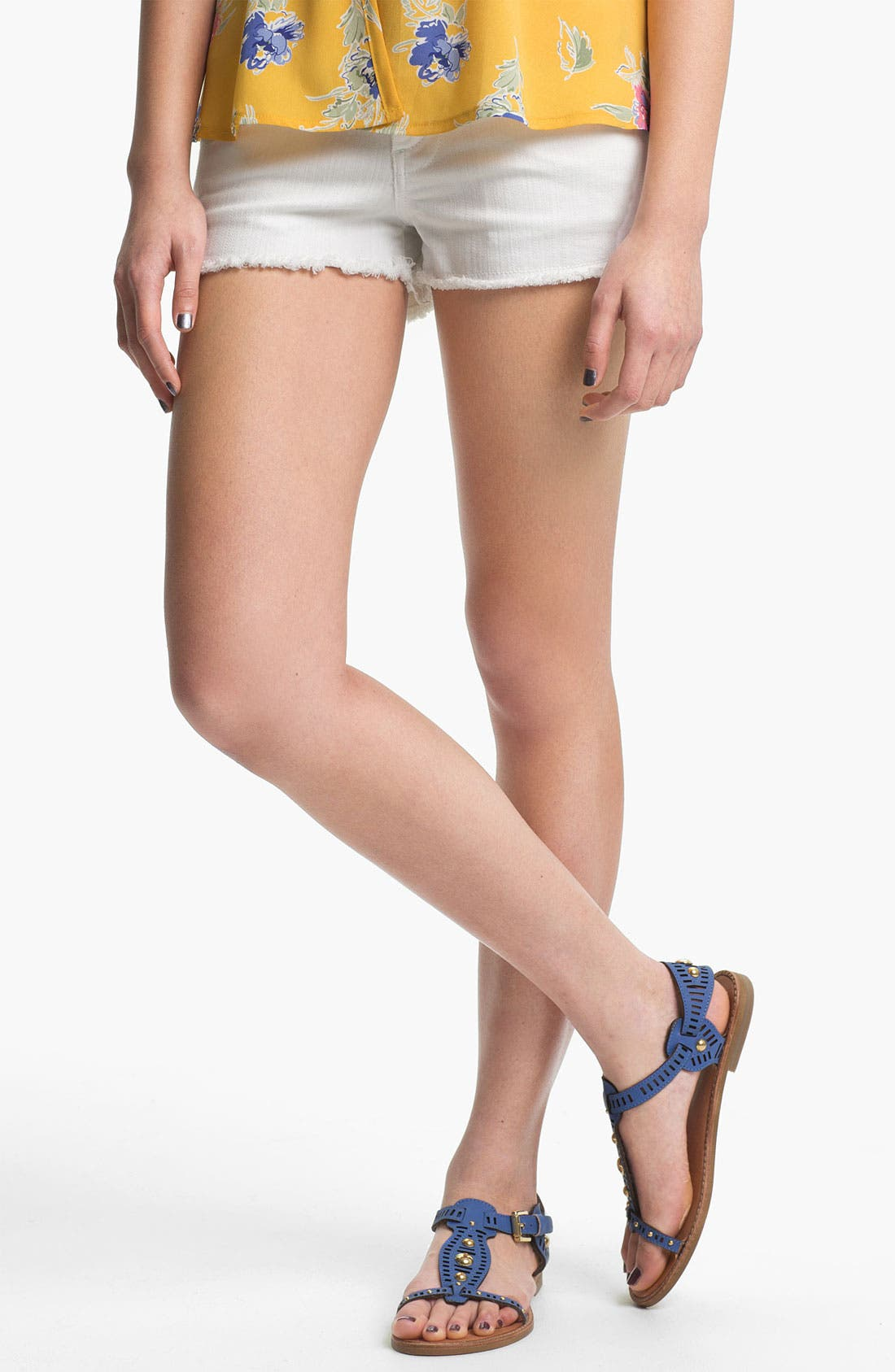 Alternate Image 1 Selected - STS Blue Cutoff Denim Shorts (White) (Juniors)
