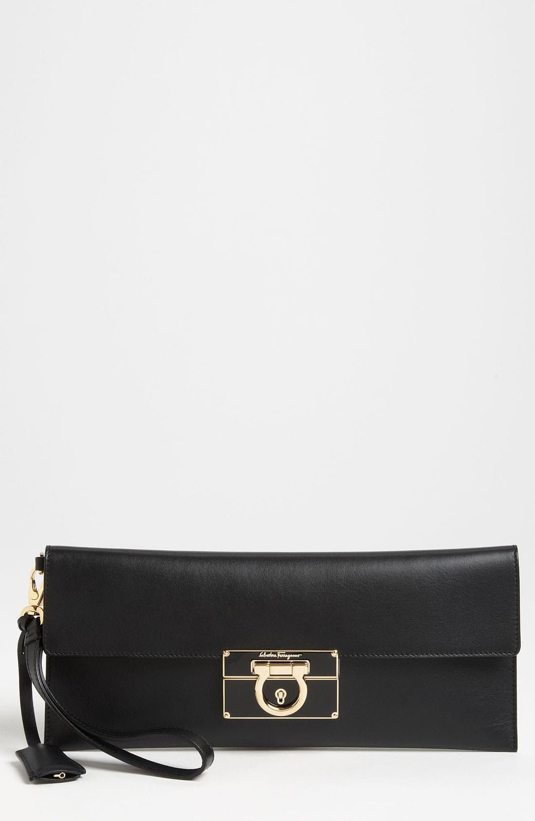 Main Image - Salvatore Ferragamo 'Afef' Leather Envelope Clutch