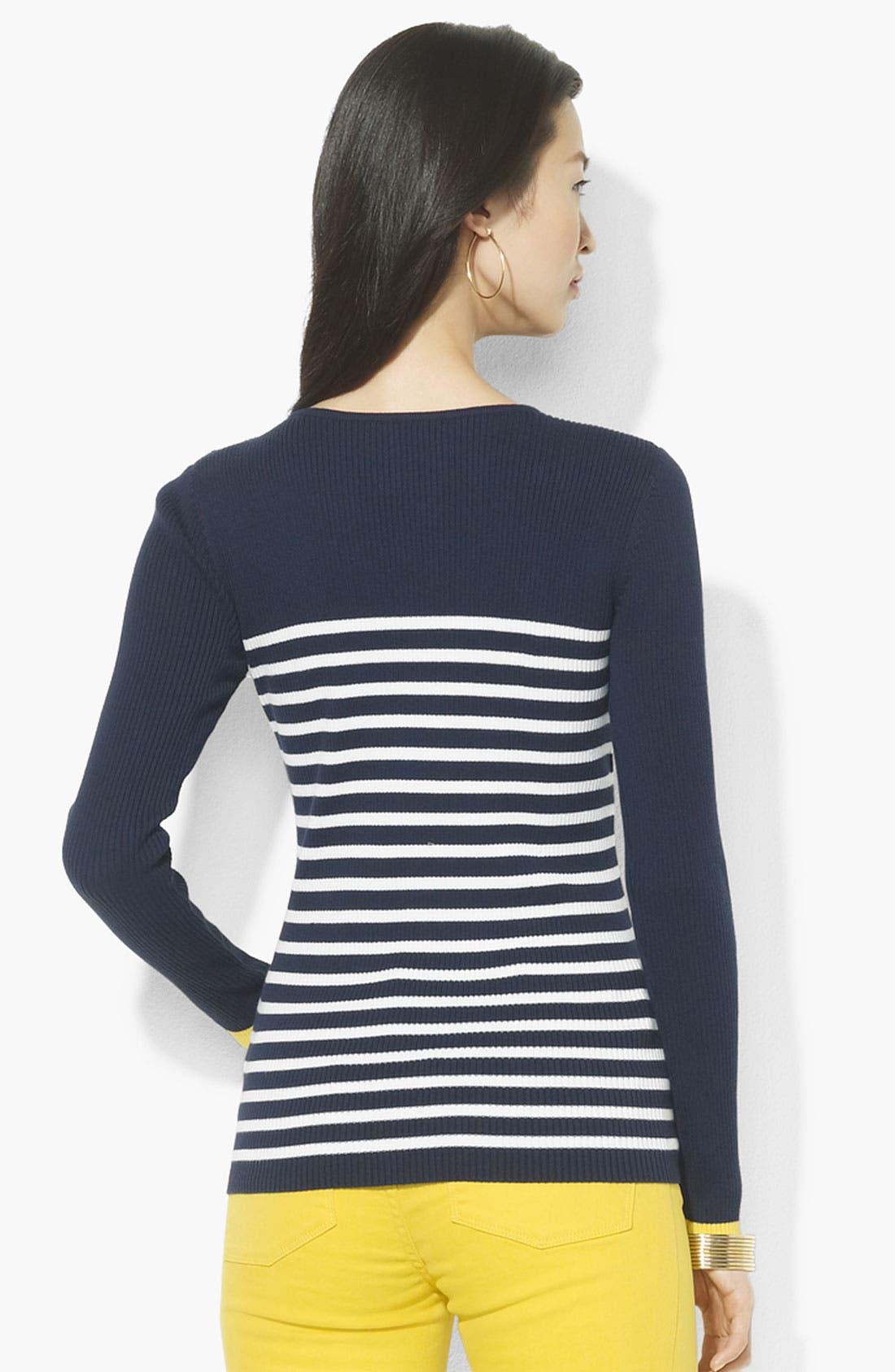Alternate Image 2  - Lauren Ralph Lauren Button Shoulder Stripe Sweater