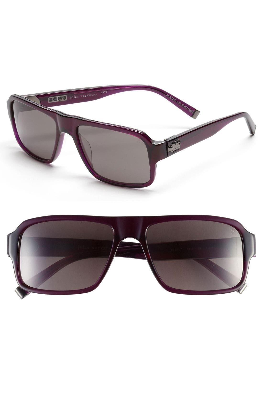 Main Image - John Varvatos Collection 56mm Rectangular Sunglasses