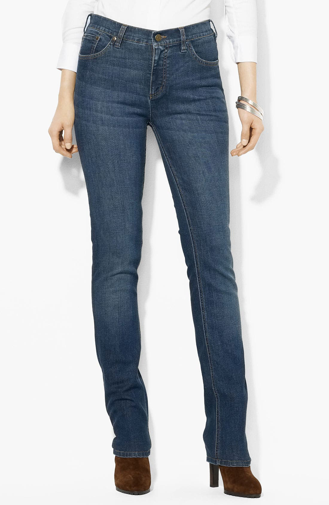 Alternate Image 1 Selected - Lauren Ralph Lauren Slimming Straight Leg Jeans (Petite) (Online Only)