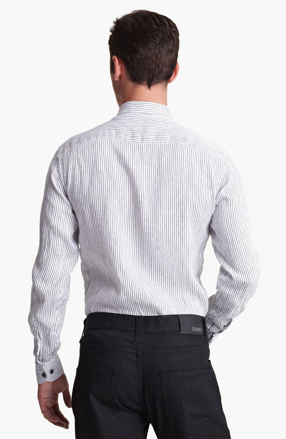 Alternate Image 2  - Armani Collezioni Stripe Woven Shirt with Stitched Collar