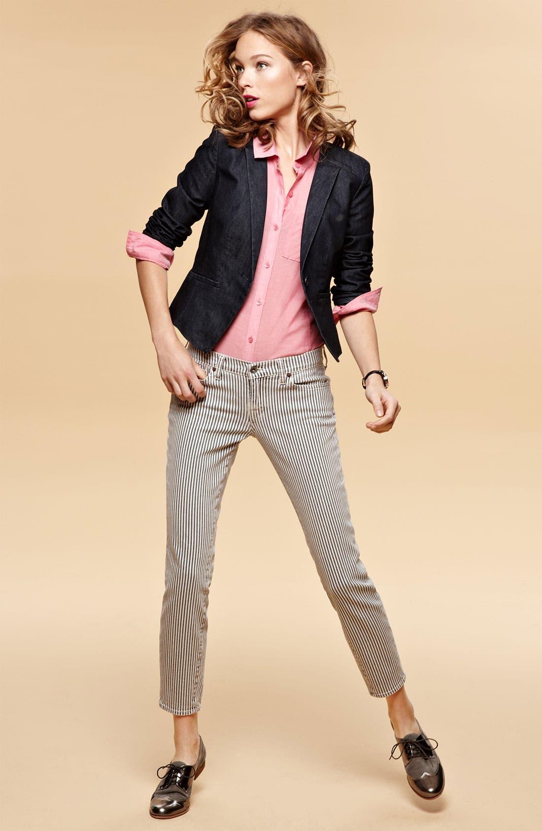 Alternate Image 4  - Lucky Brand 'Charlie' Stripe Skinny Jeans