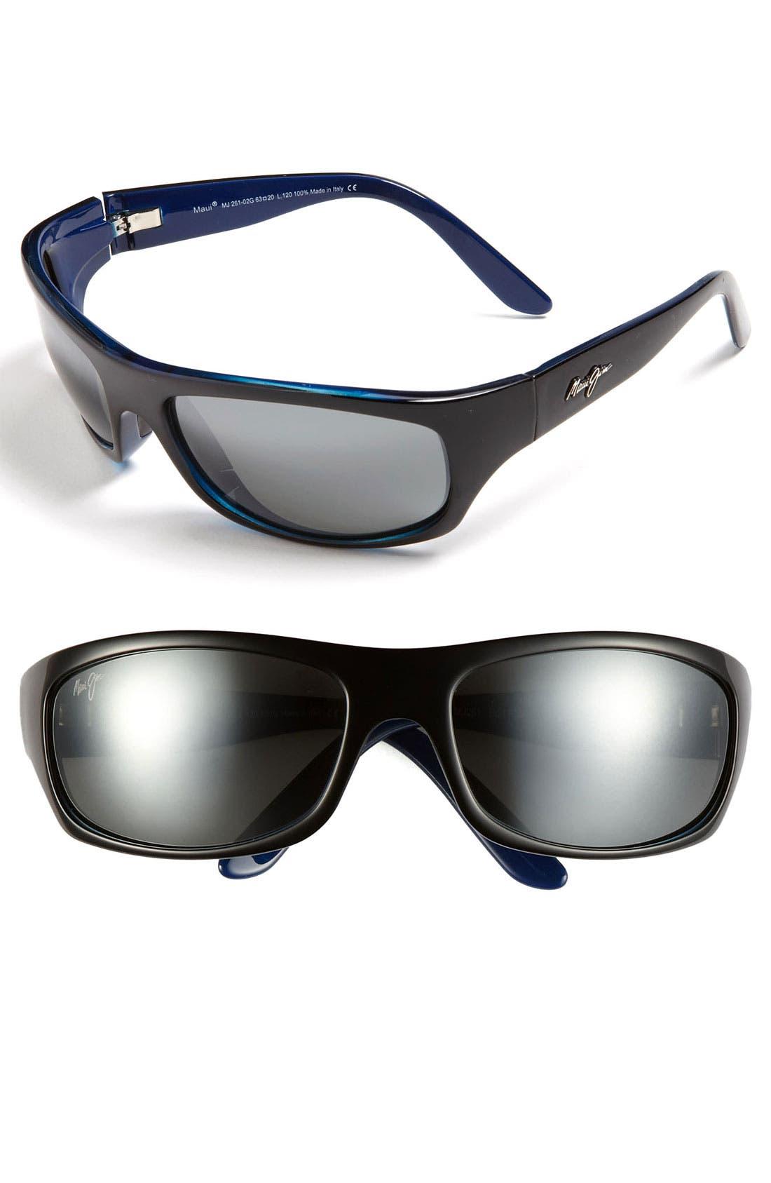'Surf Rider - PolarizedPlus<sup>®</sup>2' 63mm Sunglasses,                         Main,                         color, Black