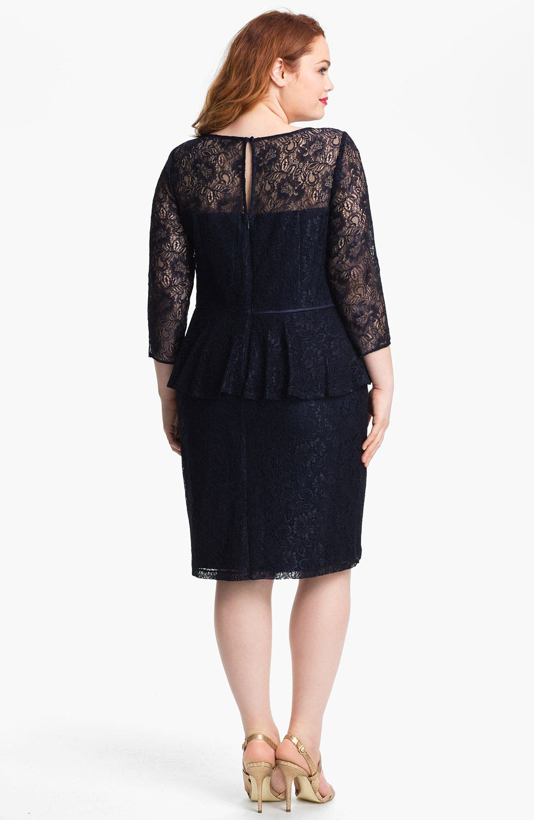 Alternate Image 2  - Adrianna Papell Lace Peplum Dress (Plus)