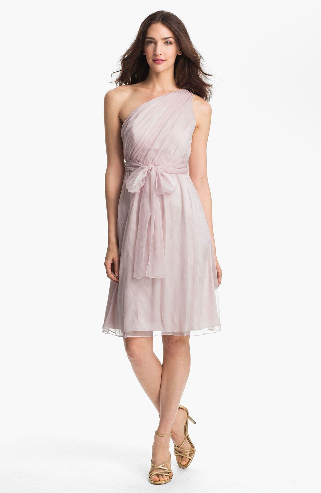 Alternate Image 1 Selected - Amsale One Shoulder Belted Silk Chiffon Dress