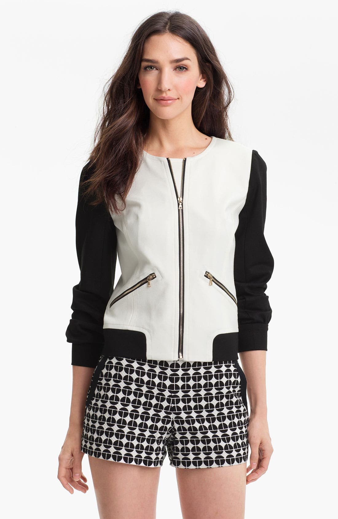 Main Image - Trina Turk 'Slugger' Collarless Zip Jacket