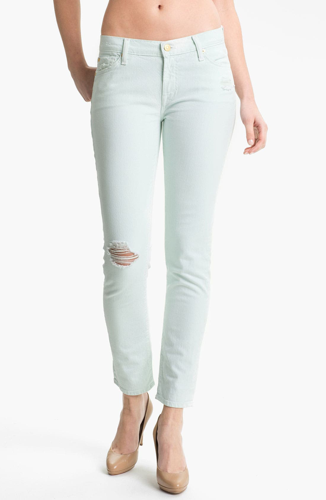 Main Image - 7 For All Mankind® 'The Slim Cigarette' Stretch Jeans (Aqua Destroyed)